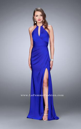 Picture of: Long Jersey Prom Dress with Ruching and Side Slit, Style: 24225, Main Picture