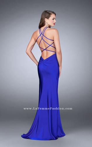 Picture of: Long Jersey Prom Dress with Ruching and Side Slit, Style: 24225, Back Picture
