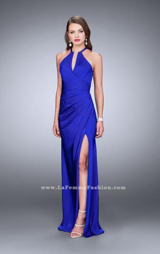 Picture of: Long Jersey Prom Dress with Ruching and Side Slit, Style: 24225, Detail Picture 1
