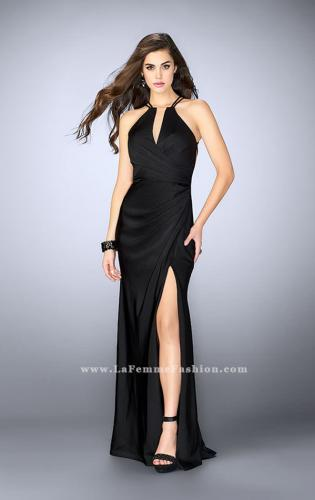 Picture of: Long Jersey Prom Dress with Ruching and Side Slit, Style: 24225, Detail Picture 2