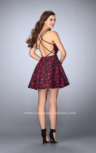 Picture of: Short Rose Print Dress with Pockets and Flared Skirt, Style: 24283, Back Picture
