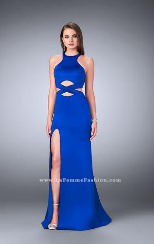 Picture of: Strappy Neoprene Dress with High Neck and Side Slit, Style: 24312, Main Picture