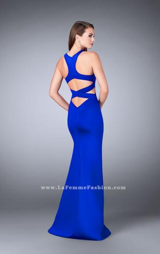 Picture of: Strappy Neoprene Dress with High Neck and Side Slit, Style: 24312, Back Picture