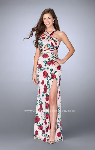 Picture of: Rose Printed Long Satin Prom Dress with Strappy Back, Style: 24382, Main Picture