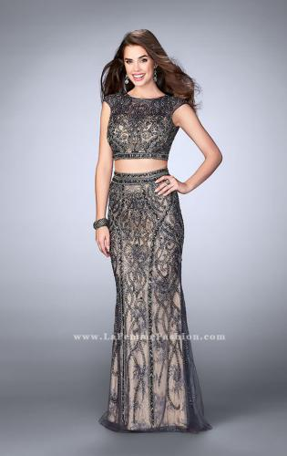 Picture of: Beaded Two Piece Dress with Lace and Cap Sleeves, Style: 24386, Main Picture