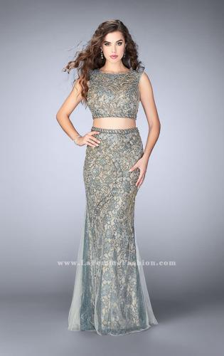 Picture of: Beaded two piece dress with a lace underlay and open back., Style: 24392, Main Picture
