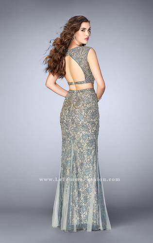 Picture of: Beaded two piece dress with a lace underlay and open back., Style: 24392, Back Picture