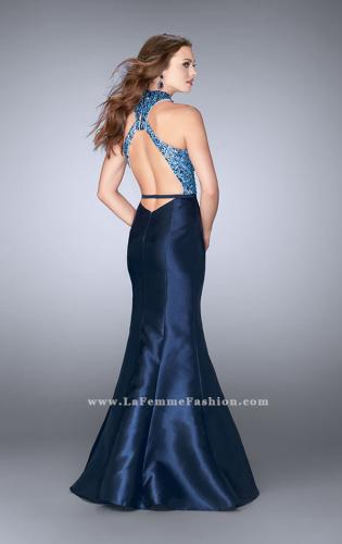 Picture of: Mikado Prom Dress with Open Back and Belt, Style: 24393, Back Picture