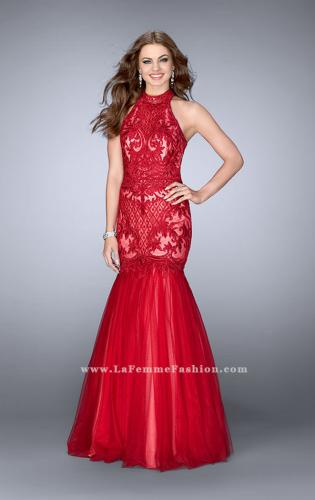 Picture of: High Neck Lace Mermaid Dress with Tulle Skirt, Style: 24394, Main Picture