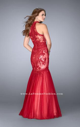 Picture of: High Neck Lace Mermaid Dress with Tulle Skirt, Style: 24394, Back Picture