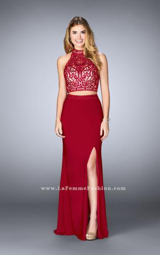 Picture of: Embroidered Two Piece Jersey Dress with Low Back, Style: 24402, Main Picture