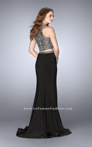 Picture of: Two Piece Prom Dress with Metallic Lace Top and Belt, Style: 24403, Back Picture