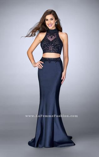 Picture of: Two Piece Mermaid Dress with Sheer Lace Top and Belt, Style: 24408, Main Picture