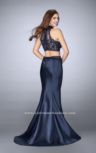 Picture of: Two Piece Mermaid Dress with Sheer Lace Top and Belt, Style: 24408, Back Picture
