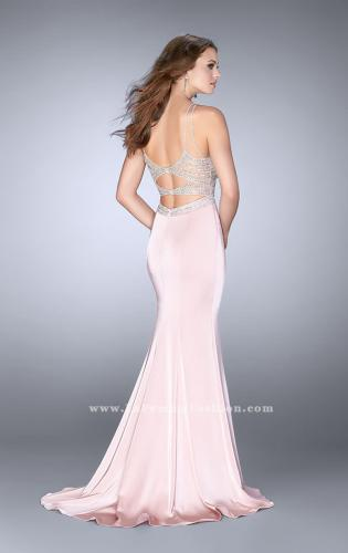 Picture of: Long Prom Dress with Sheer Beading and Leg Slit, Style: 24409, Back Picture
