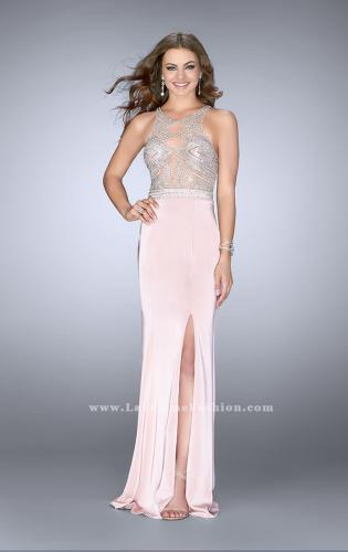 Picture of: Long Prom Dress with Sheer Beading and Leg Slit, Style: 24409, Detail Picture 1