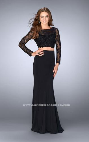 Picture of: Two Piece Long Sleeve Lace Dress with Open Back, Style: 24412, Main Picture