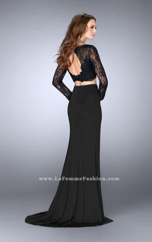 Picture of: Two Piece Long Sleeve Lace Dress with Open Back, Style: 24412, Back Picture