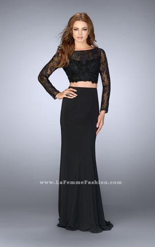 Picture of: Two Piece Long Sleeve Lace Dress with Open Back, Style: 24412, Detail Picture 1