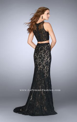 Picture of: Lace Prom Dress with Illusion Neckline and Pockets, Style: 24418, Back Picture