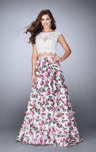 Picture of: Long A-line Two Piece Prom Dress with Floral Skirt, Style: 24428, Main Picture