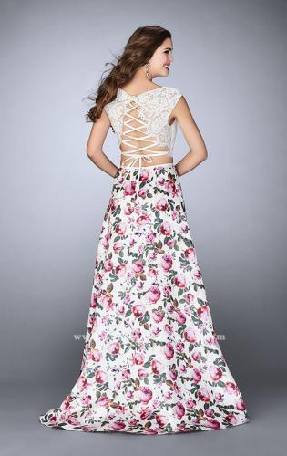 Picture of: Long A-line Two Piece Prom Dress with Floral Skirt, Style: 24428, Back Picture