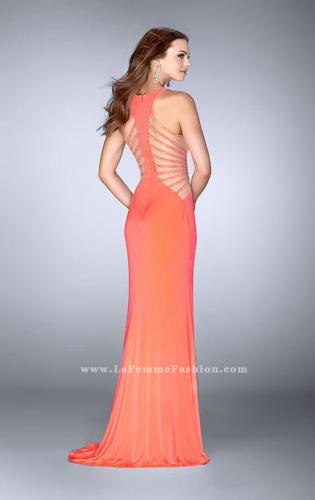 Picture of: Fitted Prom Dress with Strappy Sides and High Neckline, Style: 24432, Back Picture