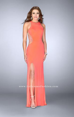 Picture of: Fitted Prom Dress with Strappy Sides and High Neckline, Style: 24432, Detail Picture 1