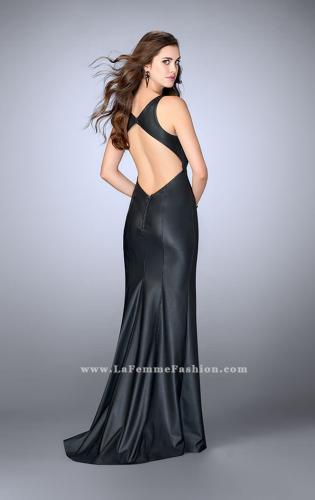 Picture of: High Neck Vegan Leather Dress with Open Back, Style: 24469, Back Picture