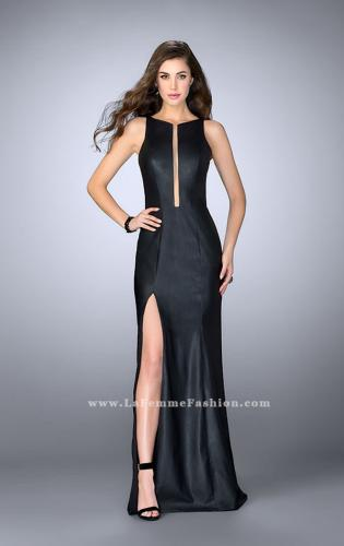 Picture of: High Neck Vegan Leather Dress with Open Back, Style: 24469, Detail Picture 1