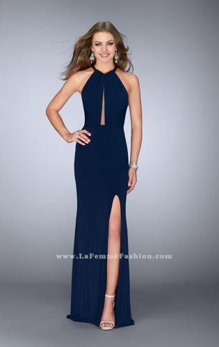 Picture of: Long Jersey Prom Gown with Sheer Strappy Back, Style: 24483, Main Picture