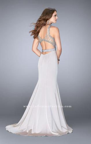 Picture of: Beaded Jersey Prom Dress with Sheer Back Straps, Style: 24485, Back Picture