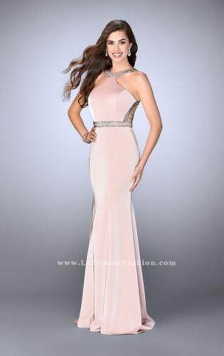 Picture of: Beaded Jersey Prom Dress with Sheer Back Straps, Style: 24485, Detail Picture 1