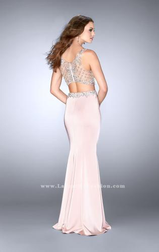 Picture of: Jersey Two Piece Prom Dress with Beaded Top and Belt, Style: 24487, Back Picture