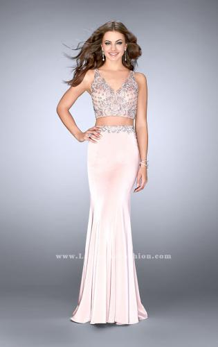 Picture of: Jersey Two Piece Prom Dress with Beaded Top and Belt, Style: 24487, Detail Picture 2