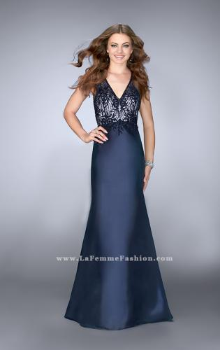 Picture of: Long Cape Prom Dress with Lace Top and V Neckline, Style: 24492, Main Picture