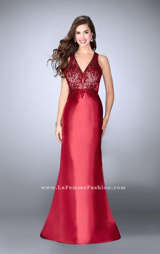 Picture of: Long Cape Prom Dress with Lace Top and V Neckline, Style: 24492, Detail Picture 1