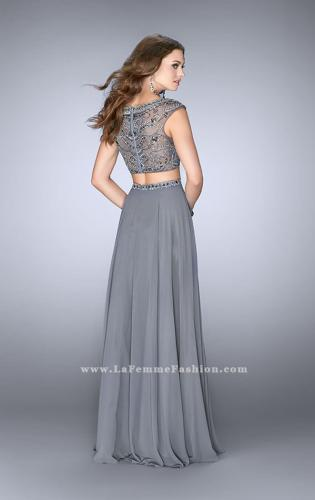 Picture of: A-line Prom Dress with Beaded Top and Cap Sleeves, Style: 24493, Back Picture