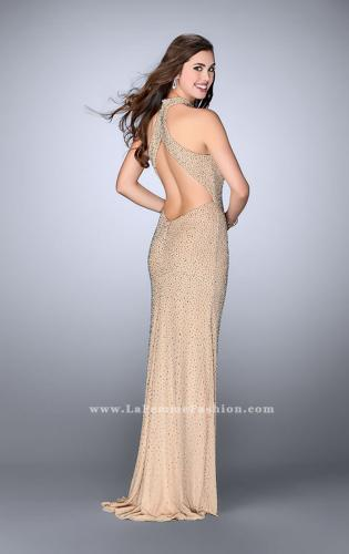 Picture of: High Neck Beaded Dress with Keyhole and Open Back, Style: 24499, Back Picture