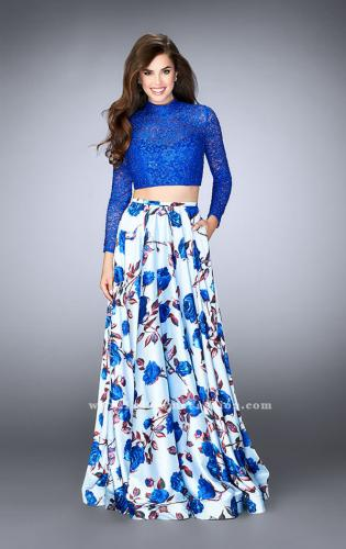 Picture of: Floral Two Piece Prom Dress with Long Sleeve Lace Top, Style: 24507, Main Picture