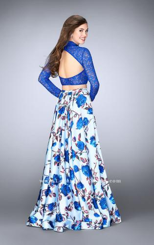 Picture of: Floral Two Piece Prom Dress with Long Sleeve Lace Top, Style: 24507, Back Picture