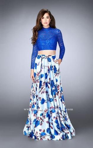 Picture of: Floral Two Piece Prom Dress with Long Sleeve Lace Top, Style: 24507, Detail Picture 1