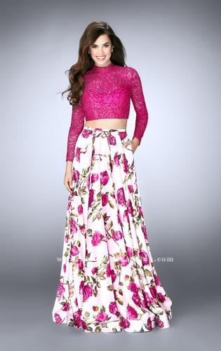 Picture of: Floral Two Piece Prom Dress with Long Sleeve Lace Top, Style: 24507, Detail Picture 2