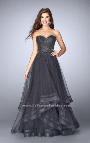 Picture of: Beaded A-line Prom Dress with a Tiered Tulle Skirt, Style: 24517, Main Picture