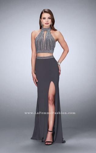 Picture of: Two Piece Jersey Dress with Beaded Top and Train, Style: 24521, Main Picture