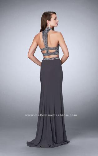 Picture of: Two Piece Jersey Dress with Beaded Top and Train, Style: 24521, Back Picture
