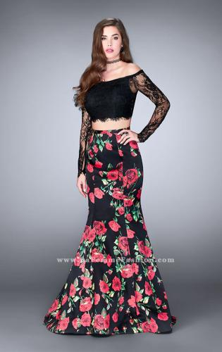 Picture of: Floral Long Sleeve Two Piece Mermaid Style Prom Dress, Style: 24522, Main Picture