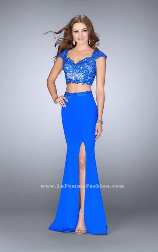 Picture of: Two Piece Prom Dress with Lace Top and Cap Sleeves, Style: 24553, Main Picture