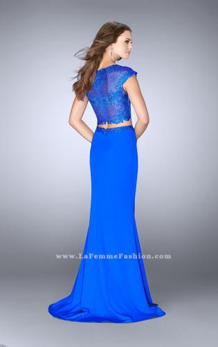 Picture of: Two Piece Prom Dress with Lace Top and Cap Sleeves, Style: 24553, Back Picture