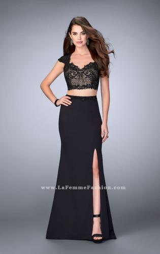 Picture of: Two Piece Prom Dress with Lace Top and Cap Sleeves, Style: 24553, Detail Picture 1
